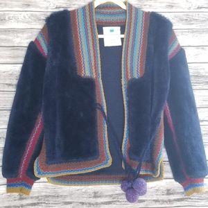 Anthropologie Sparrow Jupukka Plush Jacket Blue